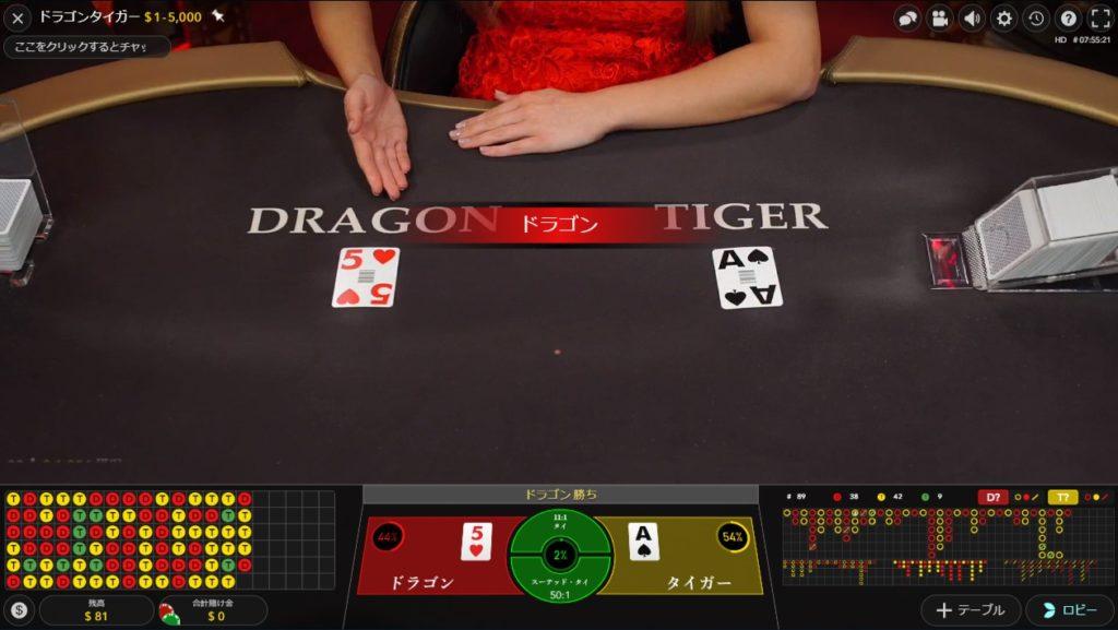 ベラジョンカジノのドラゴンタイガーの様子。