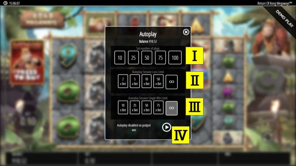 Return Of Kong Megaways™のオートプレイ設定画面。