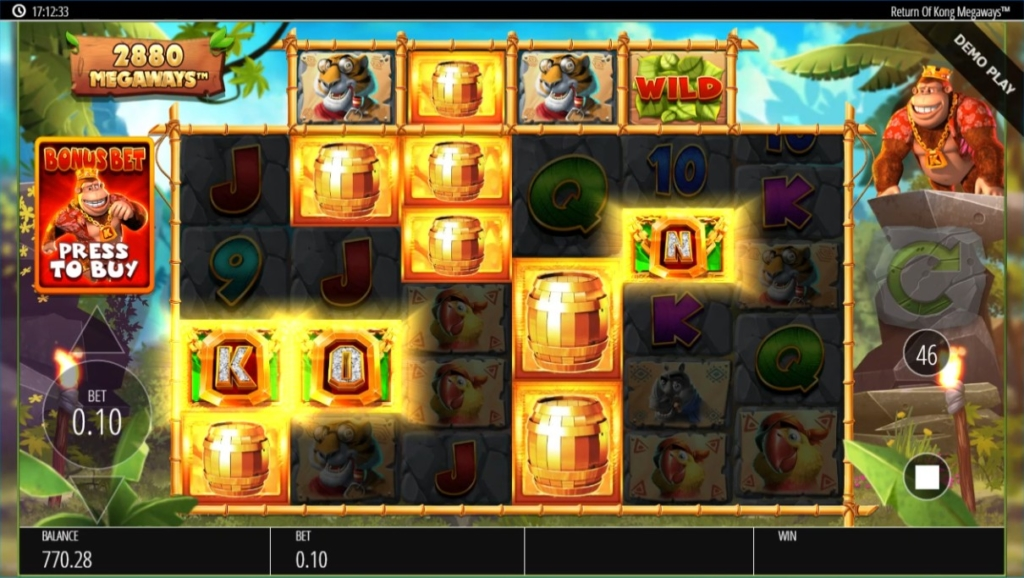 Return Of Kong Megawaysのリールが停止しボール電バレルが並んでいる画像。