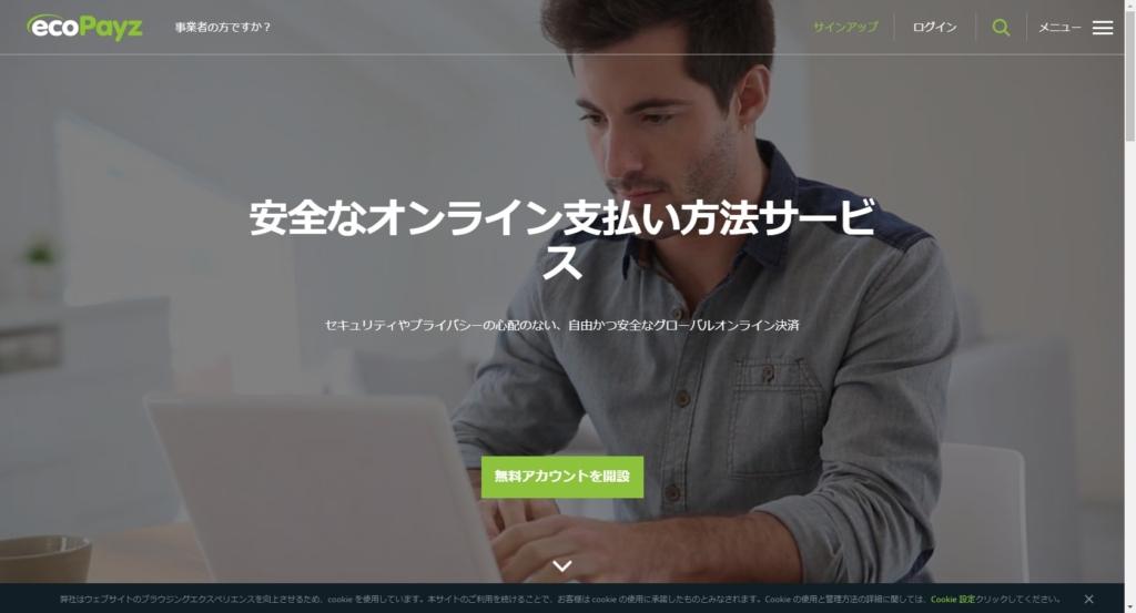 ecoPayz公式サイト画像。