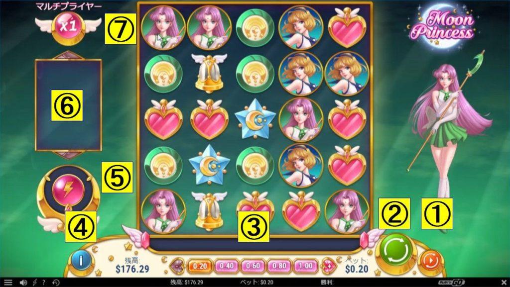 Moon Princessのプレイ画面。