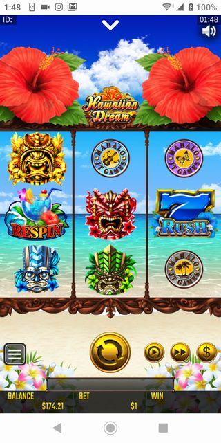 ベラジョンカジノのハワイアンドリームをスマホで遊んでる画像。