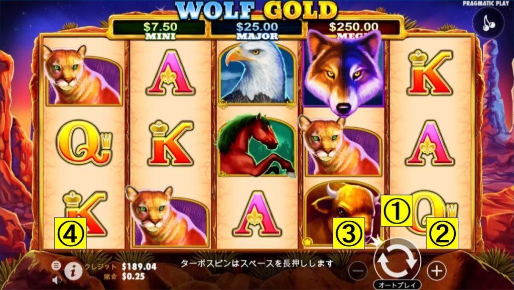 WOLF GOLDのプレイ画面。