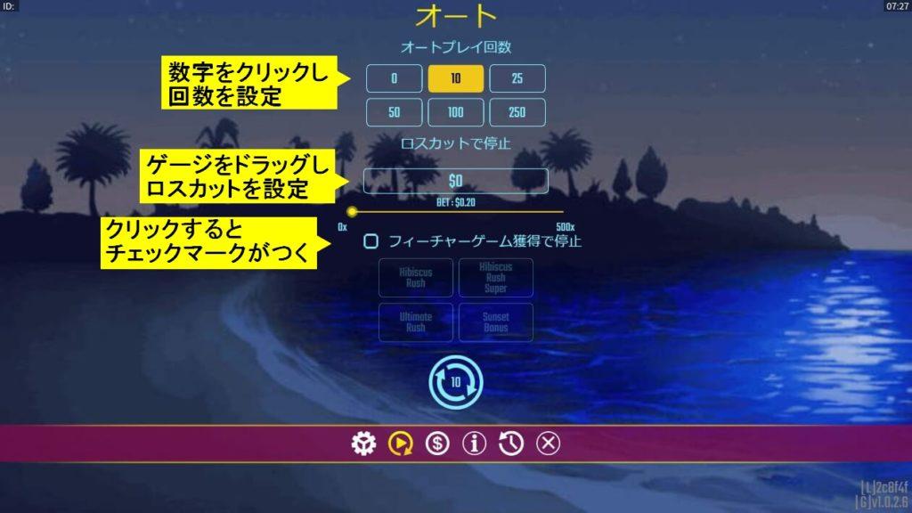 ハワイアンドリームのオートプレイ設定詳細画面。