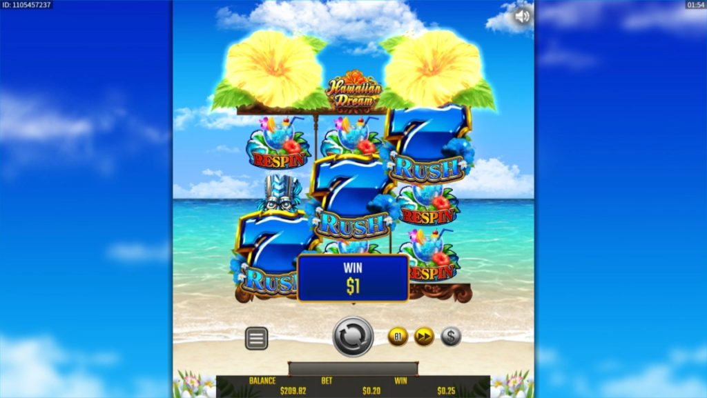 HawaiianDreamの青7絵柄を引き当てた時の画像。