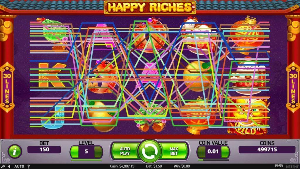 HAPPY RICHESのマックスベットボタンをクリックした時に画面の様子。