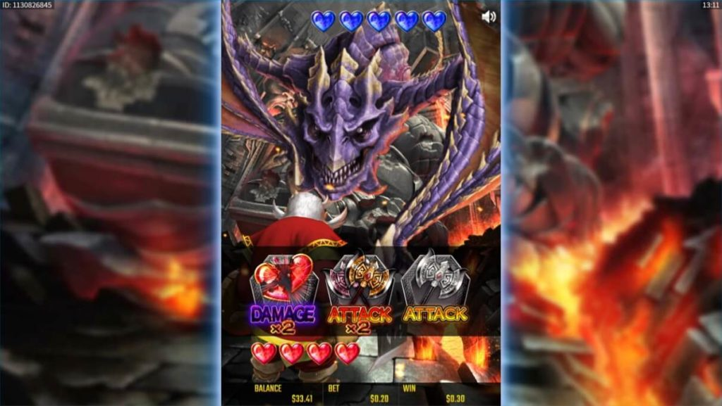 BATTLE DWARFのバトル画面。ドラゴンと対戦中。