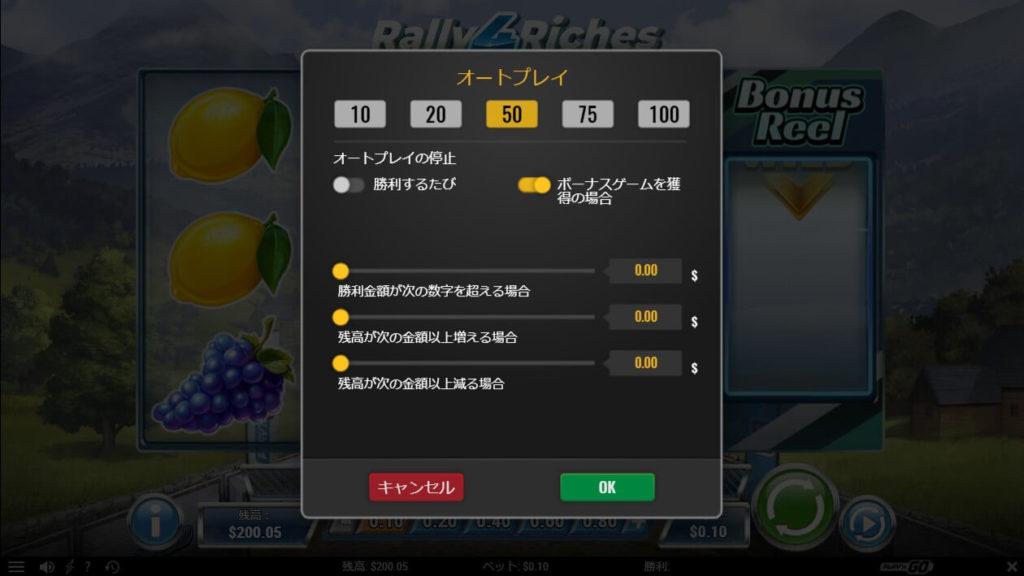 RALLY 4 RICHESのオートプレイ設定画面。