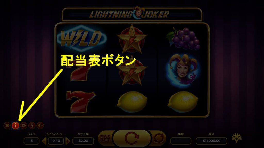 LIGHTNING JOKERの配当表ボタンの説明画像。