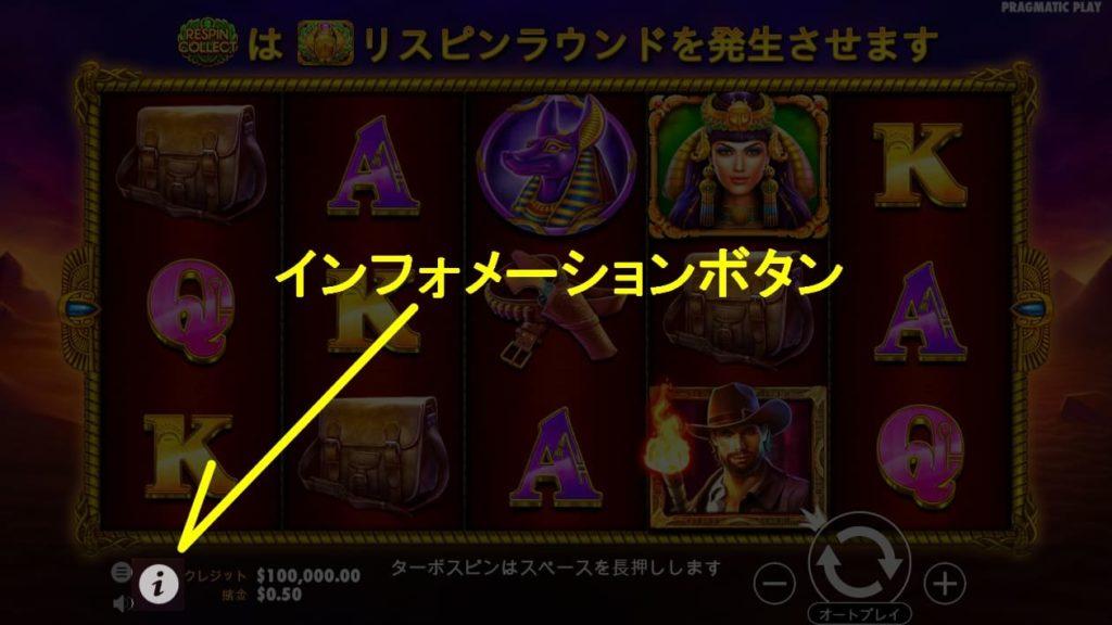 John Hunter and the Scarab Queenのインフォメーションボタンの説明画像。