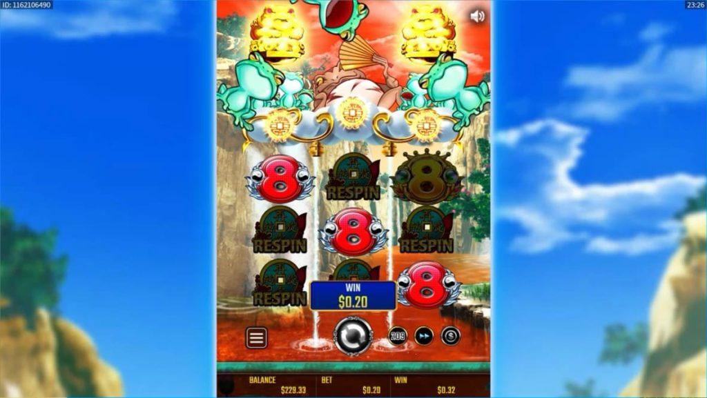金蛙神Dreams of Goldで赤8が揃ってフロッグラッシュが確定した瞬間画像。