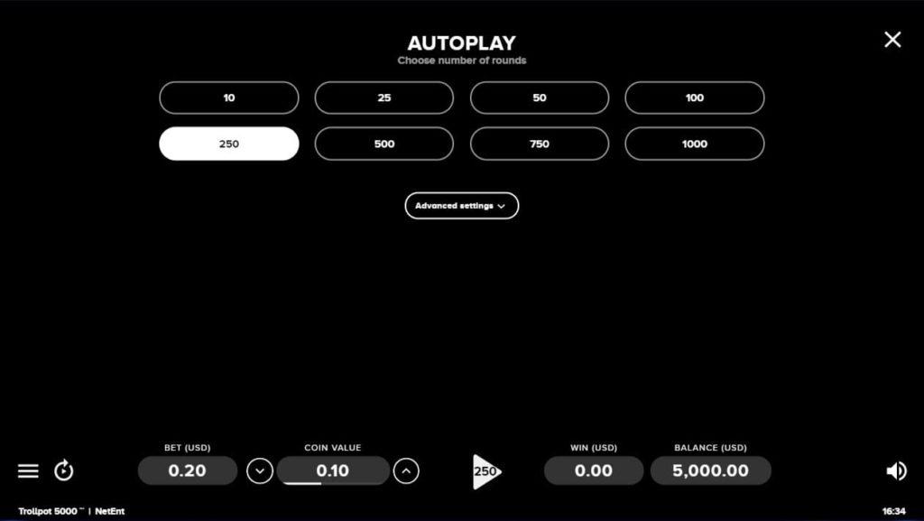 TROLLPOT 5000のオートプレイ設定画面。