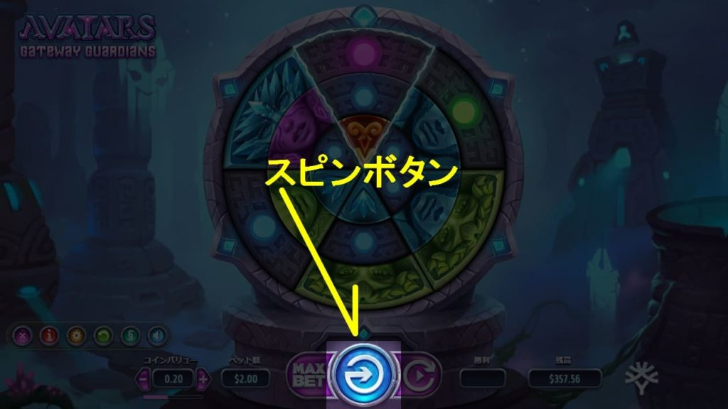 AVATARSのスピンボタンの説明画像。