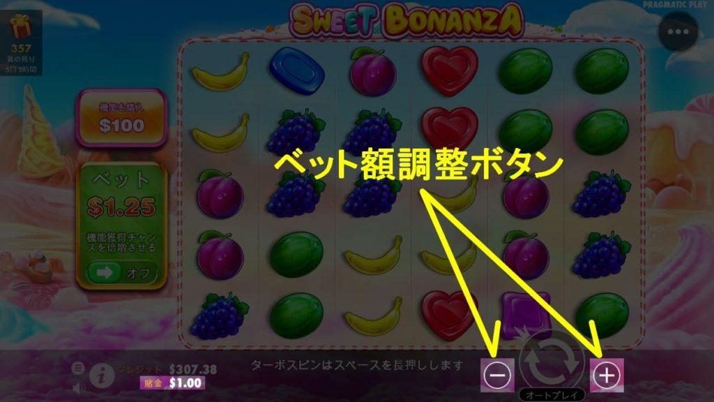 SWEET BONANZAのベット額調整ボタンの説明画像。