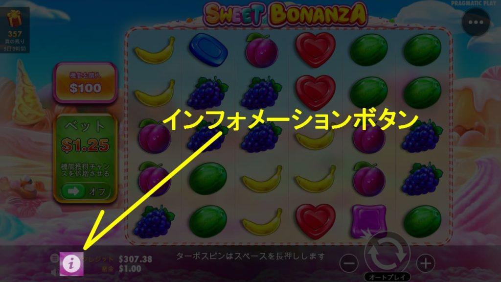 SWEET BONANZAのインフォメーションボタンの説明画像。
