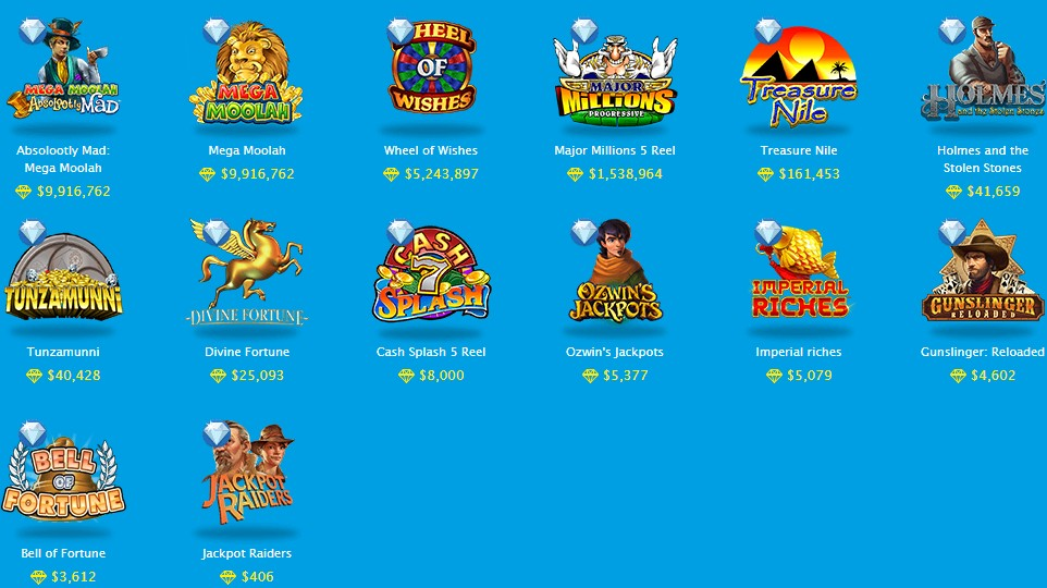 ベラジョンカジノにあるジャックポットスロットの一覧。