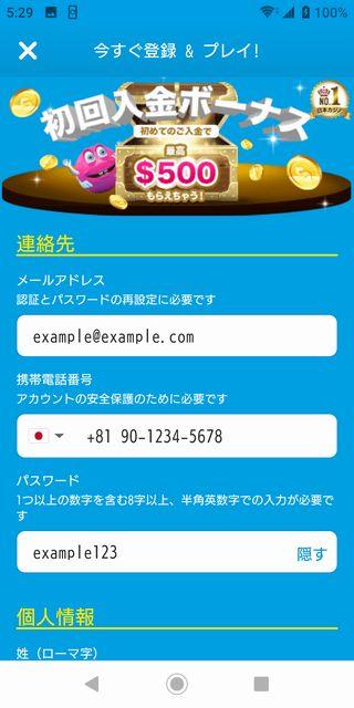 ベラジョンカジノアカウント登録画面。連絡先入力図。