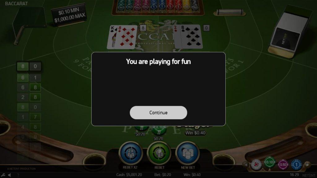 ベラジョンカジノで遊べるテーブルゲームNetEntのBaccarat Proのデモプレイ画像。