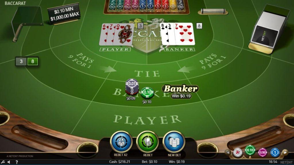 NetEntのBaccarat Proでバンカーに賭けて勝利した時の画像。