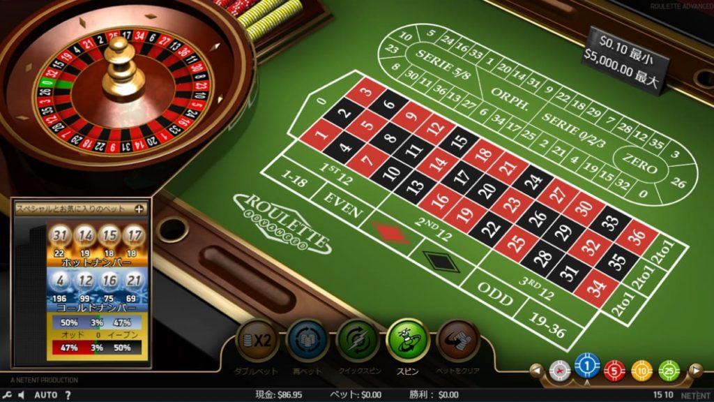 NetEnt Roulette Pro - Advancedのプレイ画面。