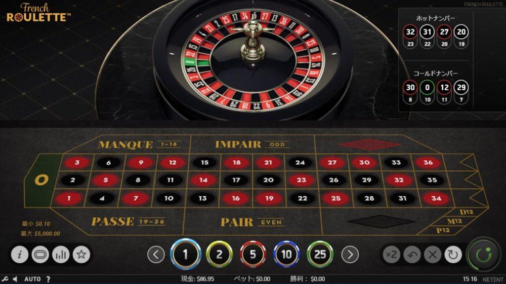 NetEnt French Rouletteのプレイ画像。