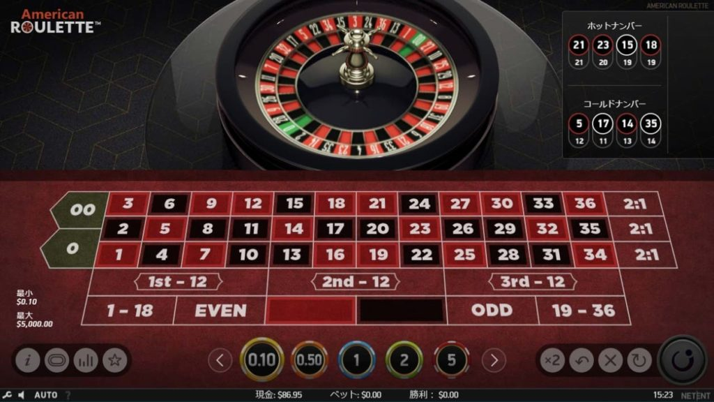 NetEnt American Rouletteのプレイ画像。