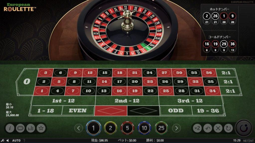 NetEnt European Rouletteのプレイ画像。