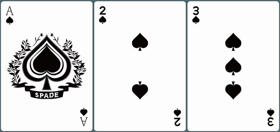 ♠A・♠2・♠3が並んだ画像。