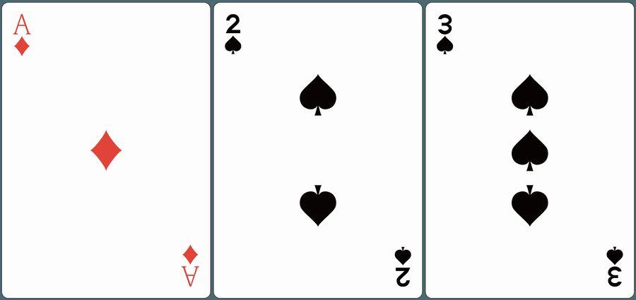 ♦A・♠2・♠3が並んだ画像。