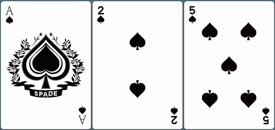 ♠A・♠2・♠5が並んだ画像。