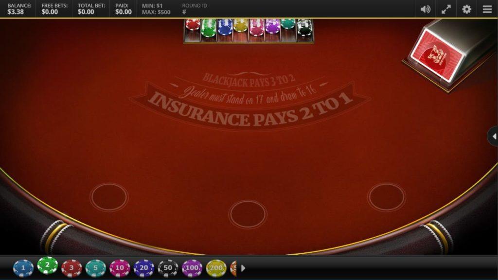 Red Tiger Red Tiger's Blackjackのプレイ画像。