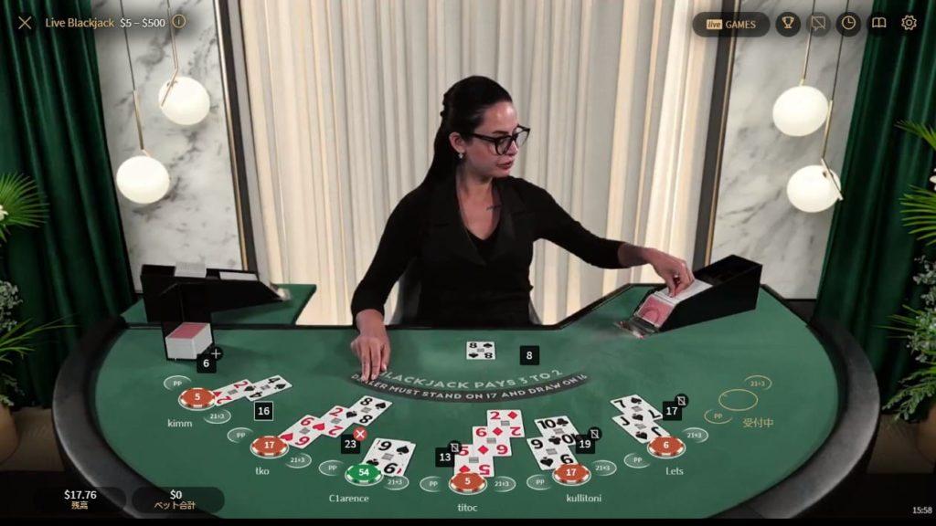 NetEnt Blackjack Greenの様子。