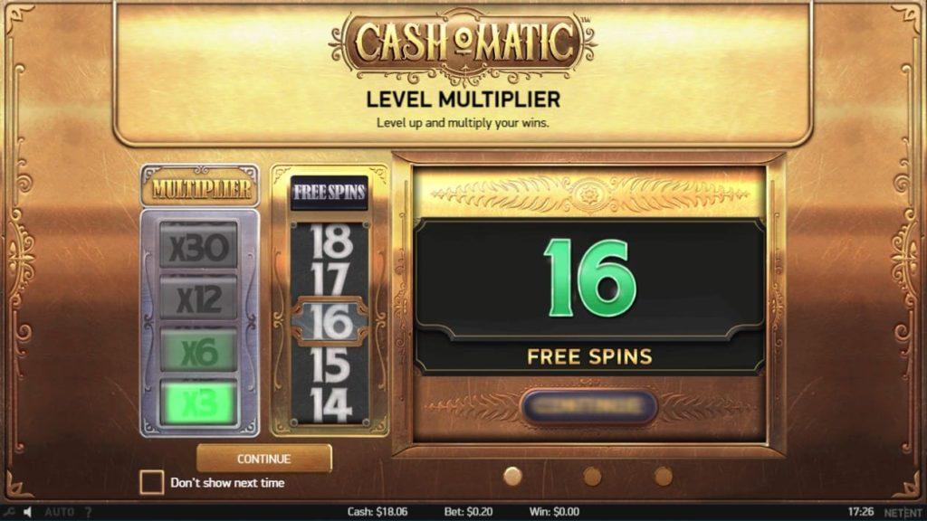 Cash-O-Maticのオープニング画面。