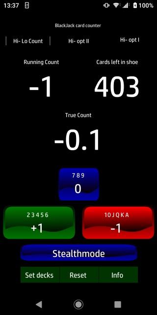 ブラックジャックカードカウンターアプリのスクリーンショット画像。