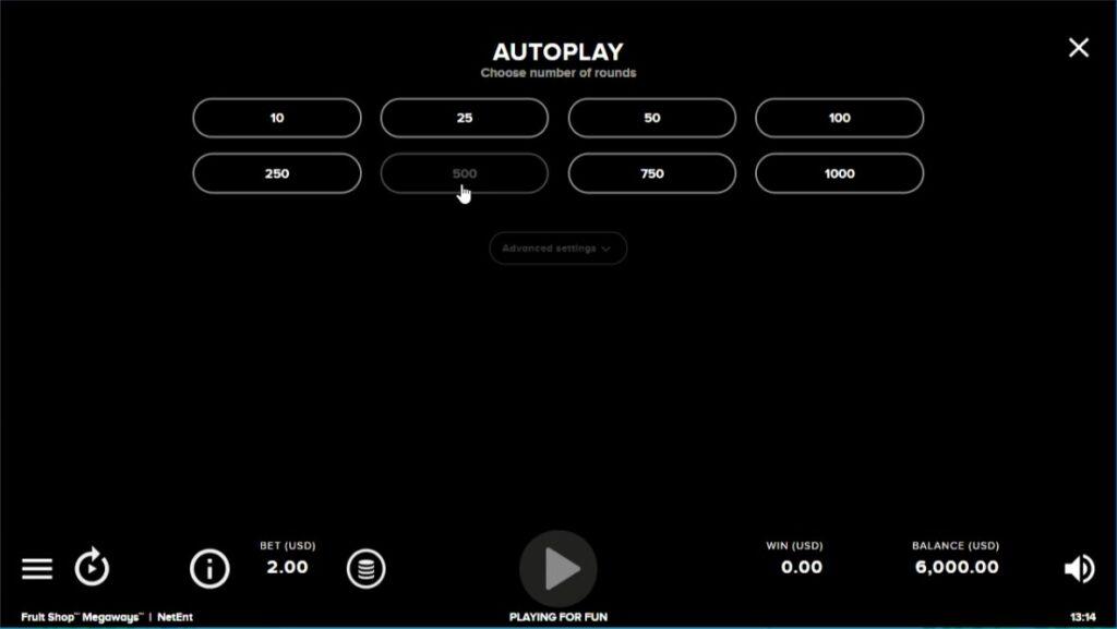 フルーツショップメガウェイズのオートプレイ設定画面。