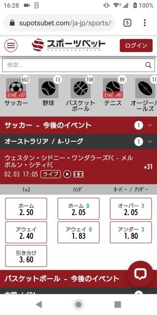 スポーツベットのスマホ版トップページ画像。