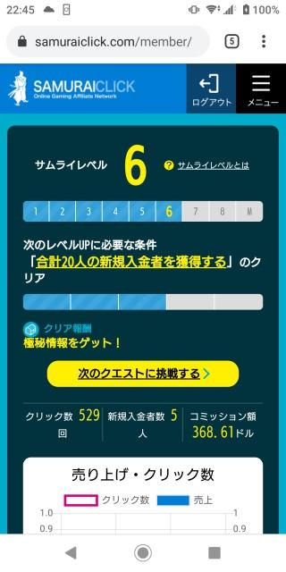 スマホ版サムライクリックのログイン画面。