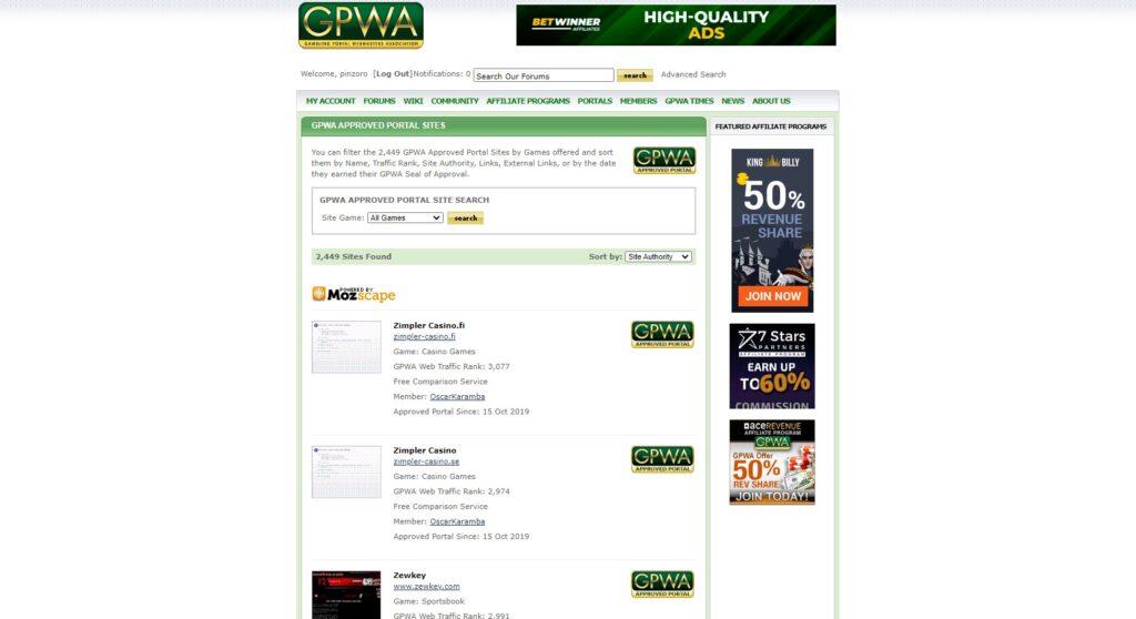 GPWA承認のポータルサイトのリンク集。