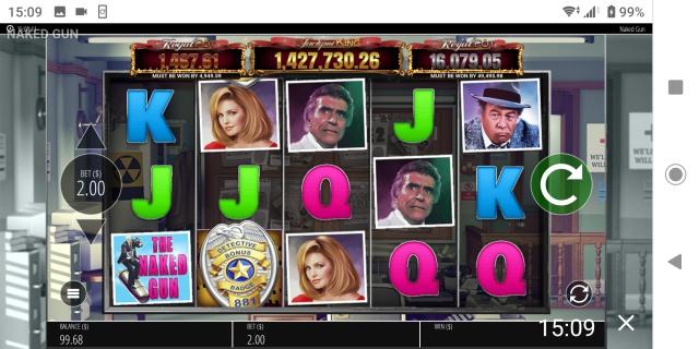 スマホ版ラッキーニッキーカジノのジャックポット(ネイクドガン)のプレイ画像。