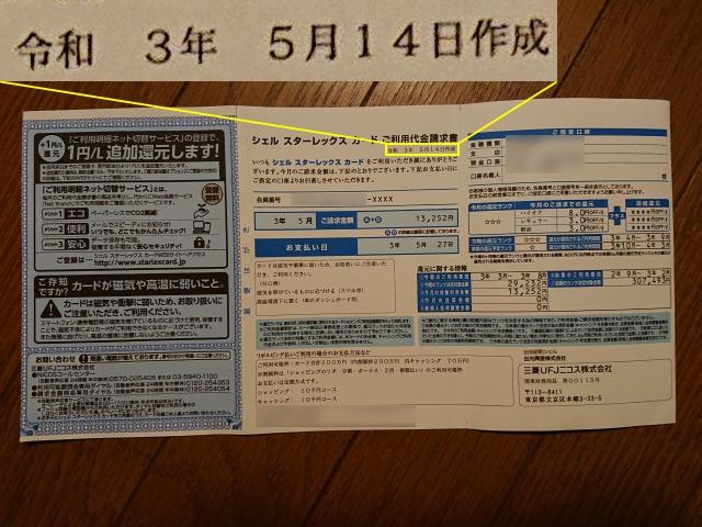 クレジットカード利用明細書。書類作成日『令和3年5月14日作成』掲載画像(裏面)。
