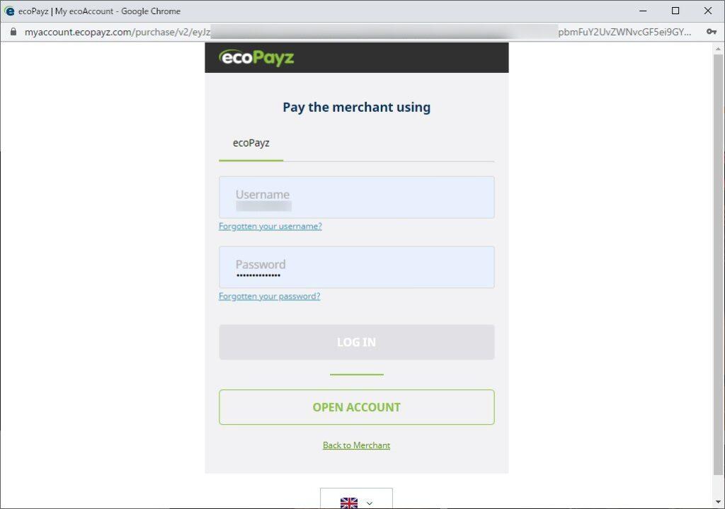 ポップアップで表示されるエコペイズのログイン画面。