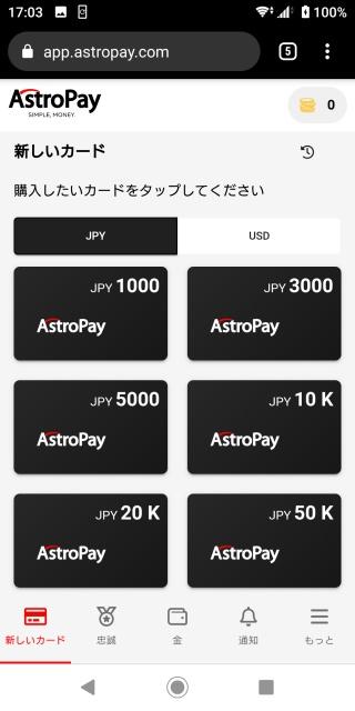 アストロペイカード購入画面。