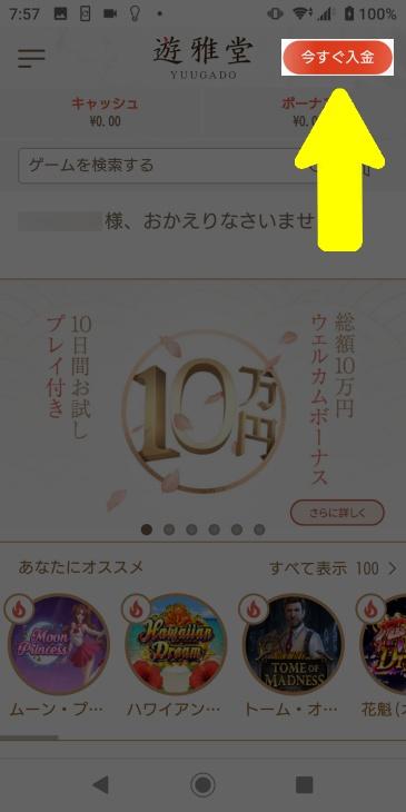 遊雅堂ログイン画面