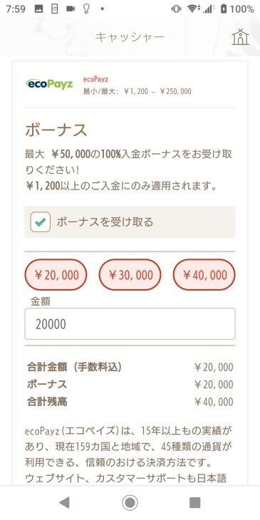入金額の入力画面